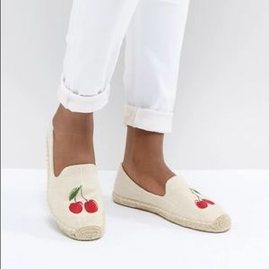 Soludos Cherries Embroidered Espadrilles Size 8.5